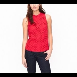 J. Crew red Eyelet shell top size 4
